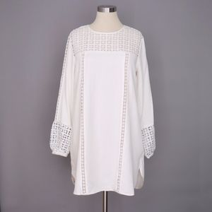 English Factory Crochet Lace Shift Dress M White